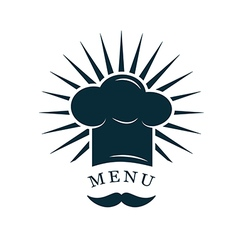 chef hat with mustache logo vector image vector image