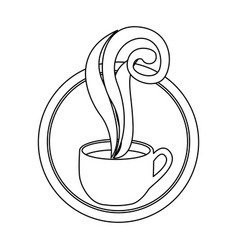 figure round symbol of coffee cup vector image