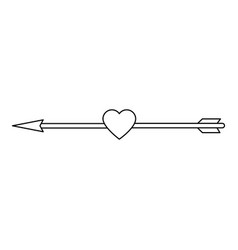 heart love with arrow decorative frame vector image