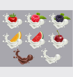 set dessert of ripe berry fruit and cream vector image