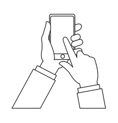 Hand finger touch display smartphone outline vector