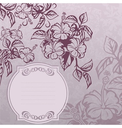 hibiscus lable grunge vector image