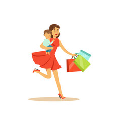 mom with child running with shopping bags vector image