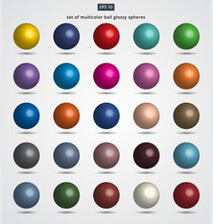 set of multicolor ball glossy spheres vector image