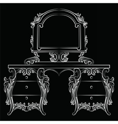 Baroque furniture Dressing Table and mirror frame vector image vector image