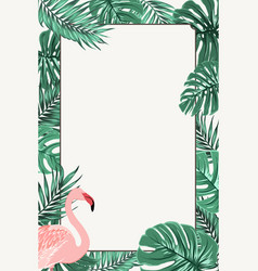border frame green tropical leaves pink flamingo vector image vector image
