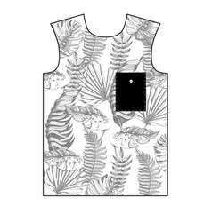 design t-shirt with tropical leaves vector image