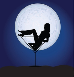 girl in martini on a moonlight vector image