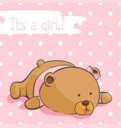 greeting card with a bear cub on a pink background vector image vector image