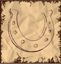 Lucky horseshoe isolated on vintage background vector image vector image
