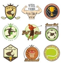Set of vintage sports emblems vector image
