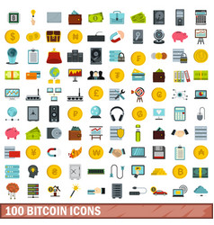 100 bitcoin icons set flat style vector