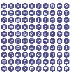 100 multimedia icons hexagon purple vector