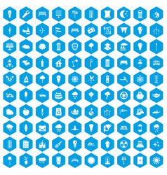100 street lighting icons set blue vector