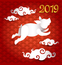 2019 new year of pig paper cut 3d greeting vector