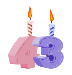 43 years birthday number with festive candle for vector