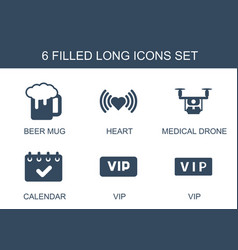 6 long icons vector