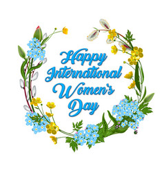 8 march happy international women s day greeting vector image