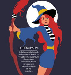 a witch with red hair flat art vector image