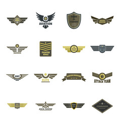 Airforce navy military logo icons set flat style vector