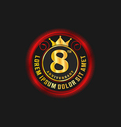 Anniversary luxury logo design gold and red vector