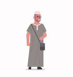 arabic businessman in glasses standing pose arab vector image