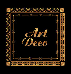 Art deco frame elegant decorative square style vector