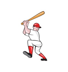 Baseball player batting isolated full cartoon vector