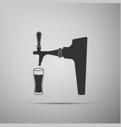 beer tap with glass icon isolated on grey vector image
