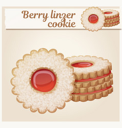 berry linzer cookies cartoon vector image