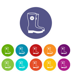 boots icons set color vector image