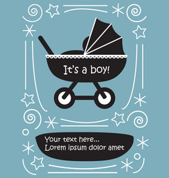 boy in pram baby carriage cute flat black and vector image