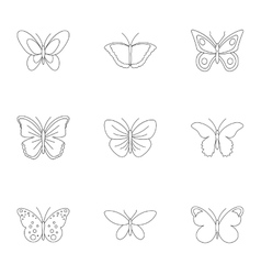 Butterfly icons set outline style vector image