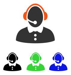 call center woman flat icon vector image