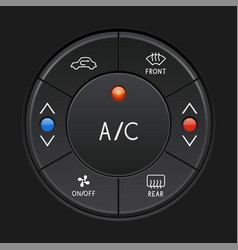 Car air conditioner control panel black buttons vector