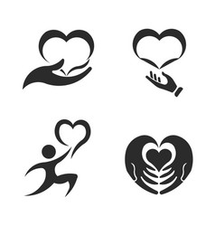 caring hands valentines day icon set vector image