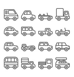 cars and trucks line icons set vector image
