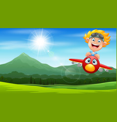 cartoon pilot boy on a airplane flying over green vector image