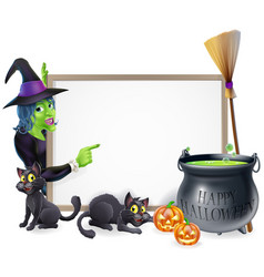 Cartoon witch halloween sign vector