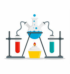Chemical flask on stand concept background flat vector