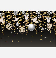 christmas border with gold serpentines and balls vector image