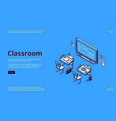 classroom isometric landing page school class vector image