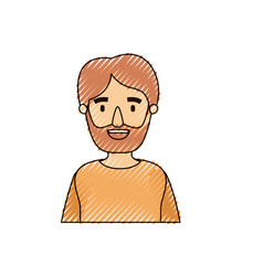 Color crayon stripe caricature half body man vector