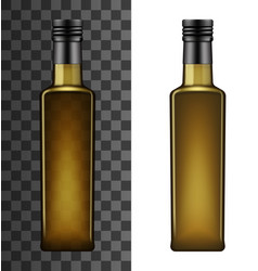 Cooking oil glass square bottle mockup vector