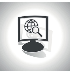 Curved global search monitor icon vector