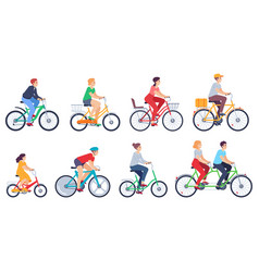 cycling people women men ride bikes sports vector image