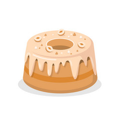 Delicious bundt cake with nuts vector