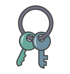 door key isolated pictogram vector image