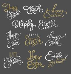 Easter lettering emblems vector