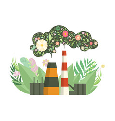 eco friendly power plant with flowers instead of vector image